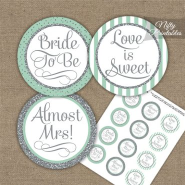 Bridal Shower Cupcake Toppers - Mint Silver Stripe