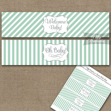 Baby Shower Water Bottle Labels - Mint Green Silver Stripe