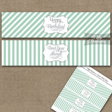 Happy Birthday Water Bottle Labels - Mint Silver Stripe