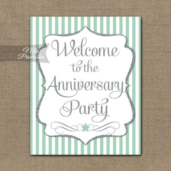 Anniversary Welcome Sign - Mint Silver Stripe