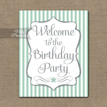 Happy Birthday Welcome Sign - Mint Silver Stripe