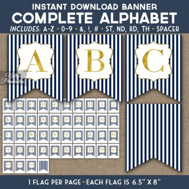 Alphabet Party Banner - Navy Blue Gold Stripe