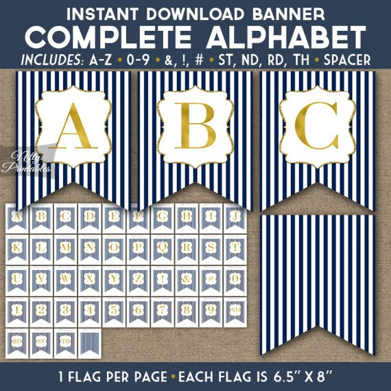 Alphabet Party Banner - Navy Blue Gold Stripe