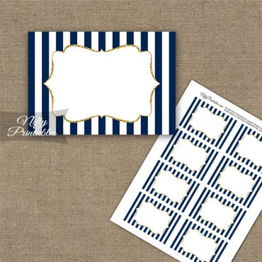 Navy Blue Gold Stripe Blank Labels