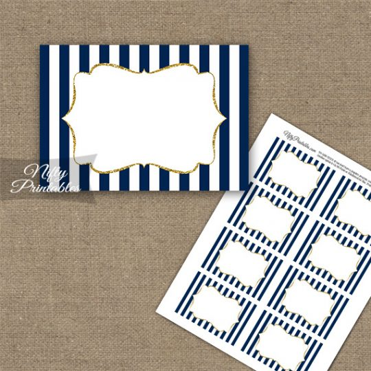 Navy Blue Gold Stripe Blank Labels