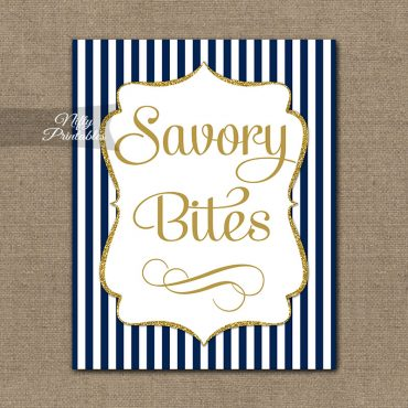Savory Food Sign - Navy Blue Gold Stripe