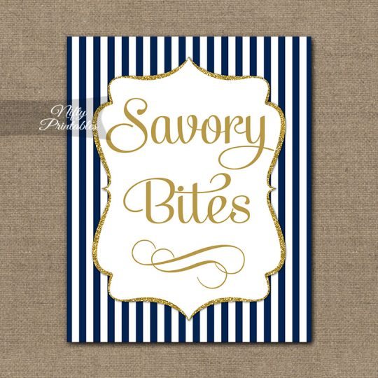 Savory Food Sign - Navy Blue Gold Stripe