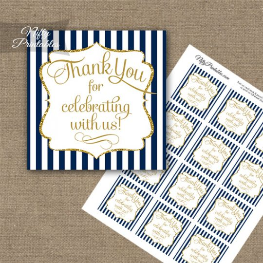 Navy Blue White Gold Stripe Thank You Favor Tags