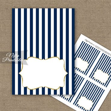 Navy Blue Gold Stripe Folded Tent Place Cards