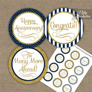 Anniversary Cupcake Toppers - Navy Blue Gold Stripe