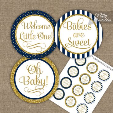 Baby Shower Cupcake Toppers - Navy Blue Gold Stripe