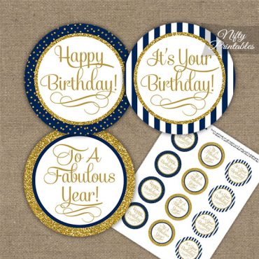 Happy Birthday Cupcake Toppers - Navy Blue Gold Stripe