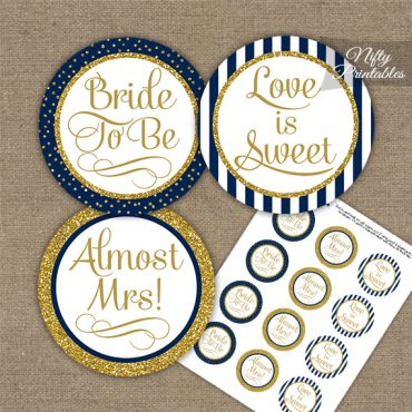 Bridal Shower Cupcake Toppers - Navy Blue Gold Stripe