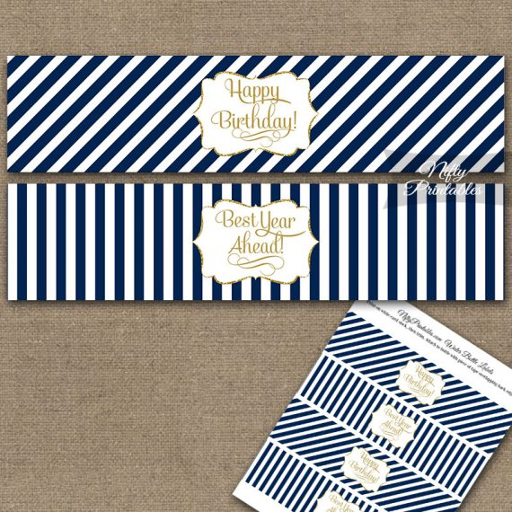 Happy Birthday Water Bottle Labels - Navy Blue Gold Stripe
