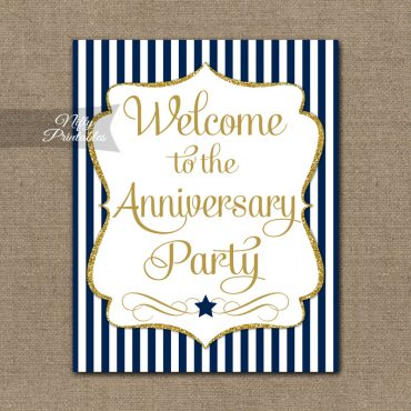 Anniversary Welcome Sign - Navy Gold Stripe