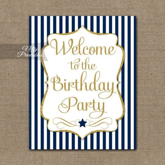 Happy Birthday Welcome Sign - Navy Gold Stripe