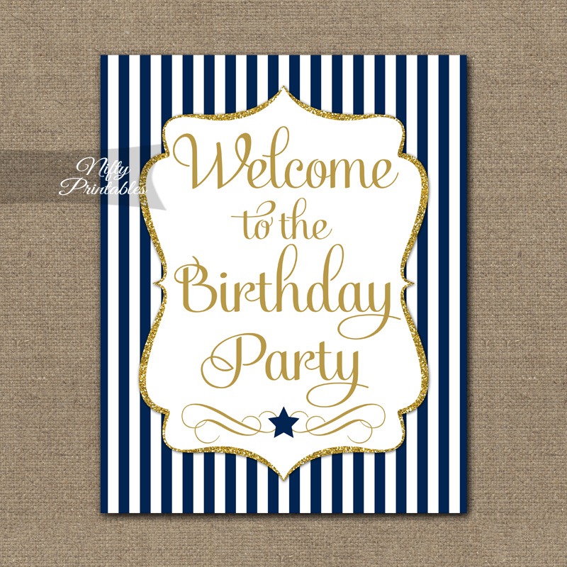 Happy Birthday Welcome Sign - Navy Gold Stripe