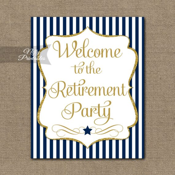 Retirement Welcome Sign - Navy Gold Stripe