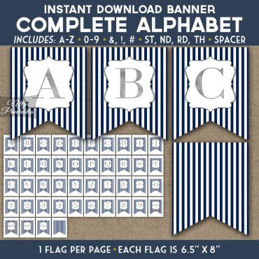 Alphabet Party Banner - Navy Blue Silver Stripe