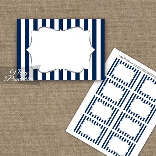 Navy Blue Silver Blank Labels Nametags