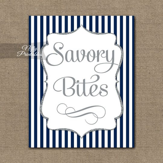 Savory Food Sign - Navy Blue Silver Stripe