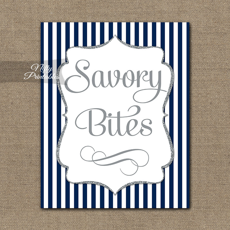 Savory Food Sign - Navy Blue Silver Stripe