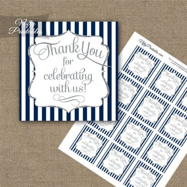 Navy Blue White Silver Stripe Thank You Favor Tags