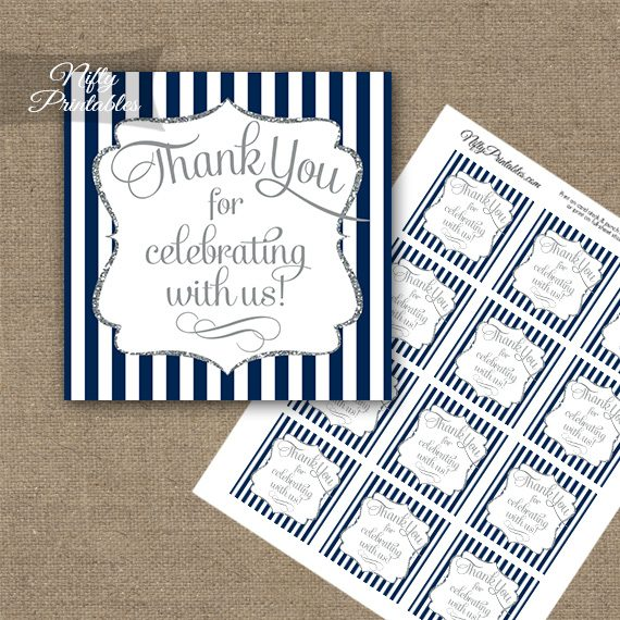 Navy Blue White Silver Stripe Thank You Favor Tags