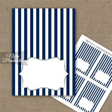 Navy Silver Blank Place Cards or Tent Cards