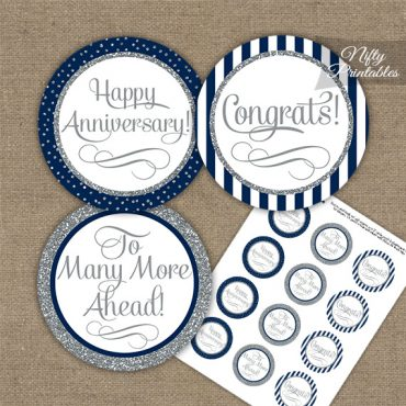 Anniversary Cupcake Toppers - Navy Silver Stripe