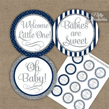 Baby Shower Cupcake Toppers - Navy Silver Stripe