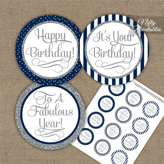 Happy Birthday Cupcake Toppers - Navy Blue Silver Stripe