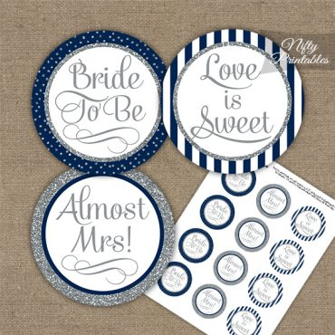 Bridal Shower Cupcake Toppers - Navy Silver Stripe