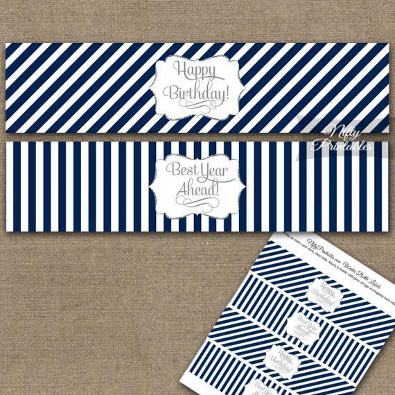 Happy Birthday Water Bottle Labels - Navy Blue Silver Stripe