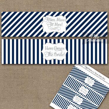 Bridal Shower Water Bottle Labels - Navy Silver Stripe