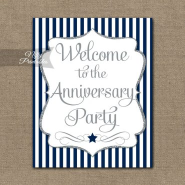 Anniversary Welcome Sign - Navy Silver Stripe