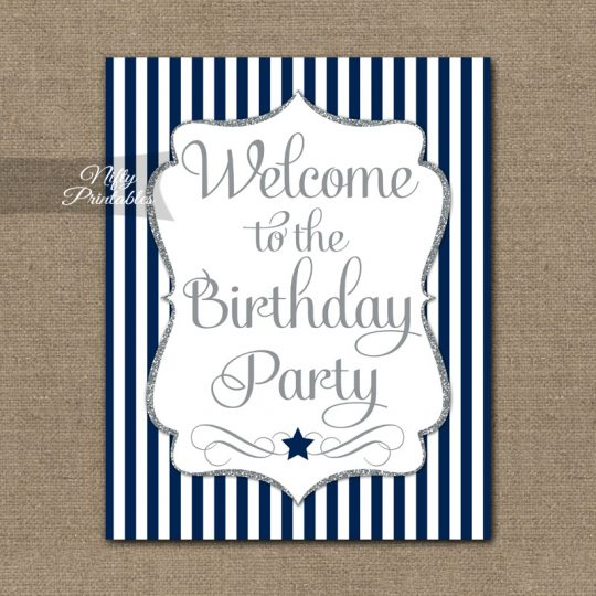 Happy Birthday Welcome Sign - Navy Silver Stripe