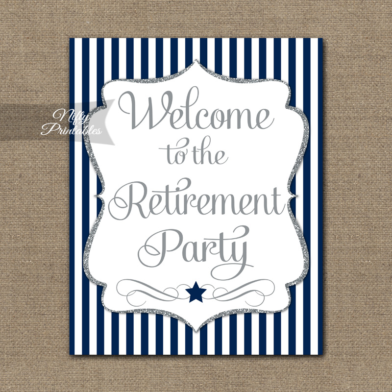 Retirement Welcome Sign - Navy Silver Stripe