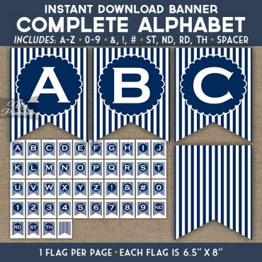Alphabet Party Banner - Navy Blue White Stripe