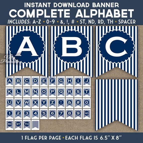 Alphabet Party Banner - Navy Blue White Stripe