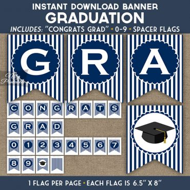 Graduation Banner - Navy Blue White Stripe