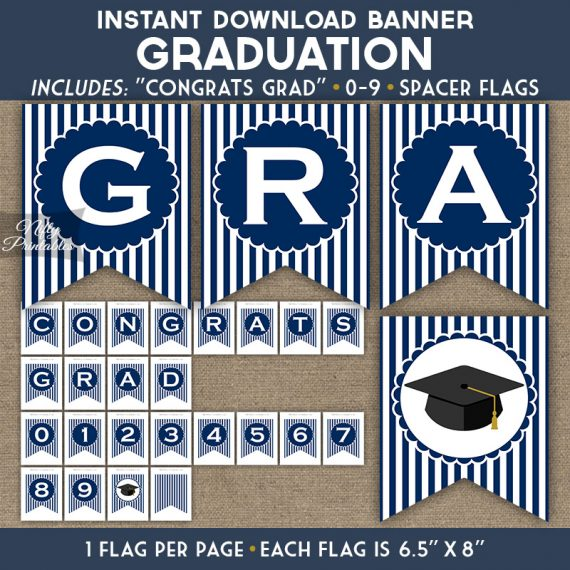 Graduation Banner - Navy Blue White Stripe