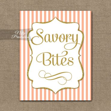 Savory Food Sign - Peach Gold Stripe