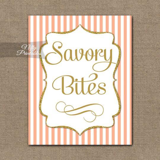 Savory Food Sign - Peach Gold Stripe