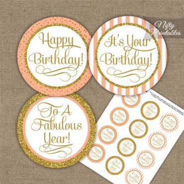 Happy Birthday Cupcake Toppers - Peach Gold Stripe