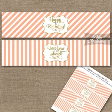 Happy Birthday Water Bottle Labels - Peach Gold Stripe