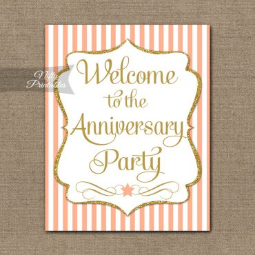 Anniversary Welcome Sign - Peach Gold Stripe