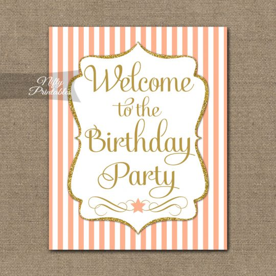 Happy Birthday Welcome Sign - Peach Gold Stripe