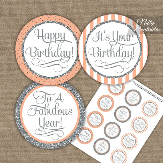 Happy Birthday Cupcake Toppers - Peach Silver Stripe