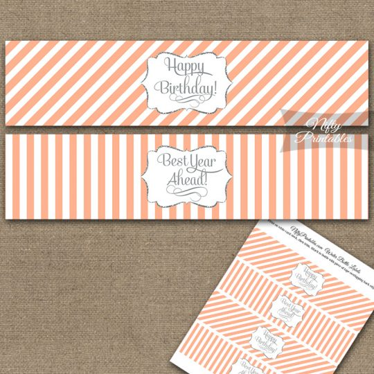 Happy Birthday Water Bottle Labels - Peach Silver Stripe